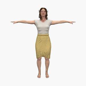 3D model character human woman