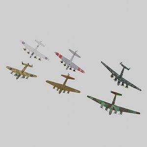 WW2 bombers lowpoly set C 3 x 3 model