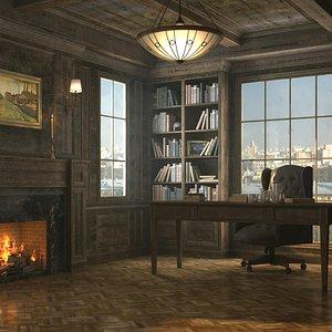 Classic Office Interior- 8K PBR Textures 3D model