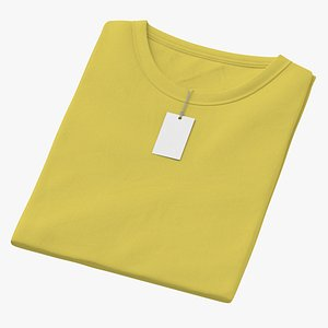 3D Female Crew Neck Folded With Tag Yellow model