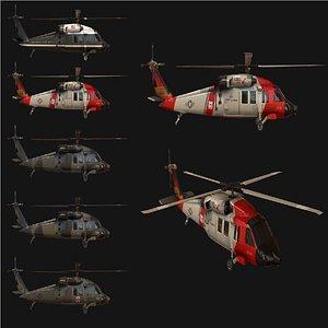 3D model uh60 blackhawk helicopter