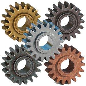 3D model realistic metalic gears
