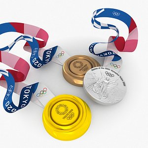 3D model tokyo 2020 olympic medals