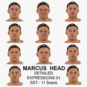 Marcus Real Head Detailed Expressions 01 Set 11 RAW Scans Collection 3D model