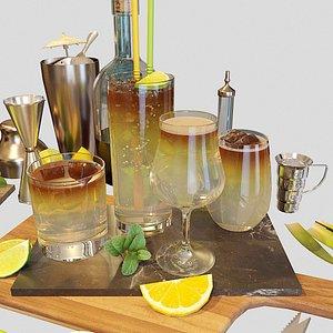 3D cocktail set dark stormy model