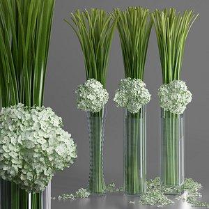 Big Giant Elegant Luxurious Hydrangea Flower Bouquet Vase decor set 3D model