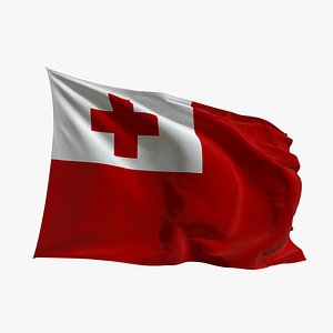 3D Realistic Animated Flag - Microtexture Rigged - Put your own texture - Def Tonga