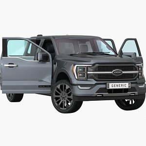 3D Generic Pickup 2022 Opening doors and trunk model