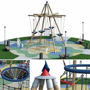 3D children rope playground model