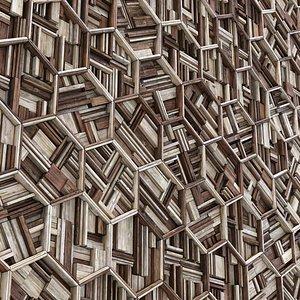 rail wood panel 3D