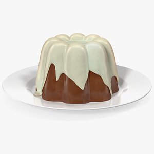 Jelly Pudding Chocolate on Plate 3D model