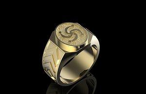 3D slavic symbol ring