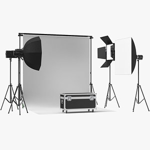 photo real studio equipment 3D model