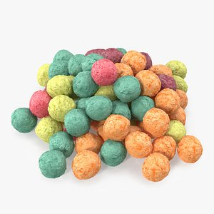 3D Pile of Colorful Cereal Balls model