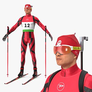 3D Biathlete Fully Equipped T Pose