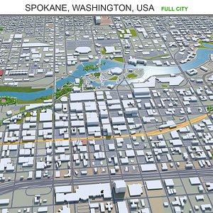 3D Spokane Washington USA model