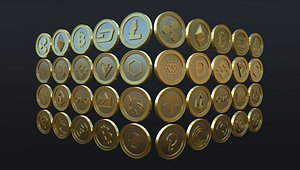 Cryptocurrency Coins 3D