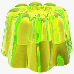 3D Yellow Vanilla Jelly Pudding