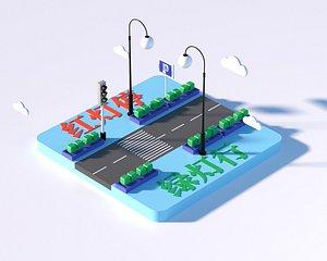 3D Cartoon traffic crossroads traffic lights safety lights cartoon elements cartoon scene two-dimension model