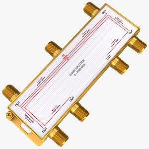 3D Wide Broadband Coaxial Splitter F Type 6 Way