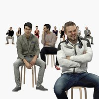 10x Scanned Casual Sitting People Vol02 Collection Treapl 3D