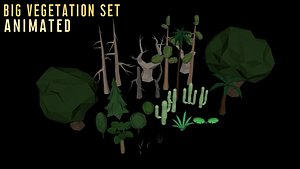 Big Low-Poly Animated Vegetation Set 3D model