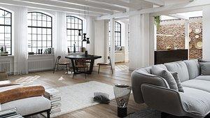 3D apartment octane render
