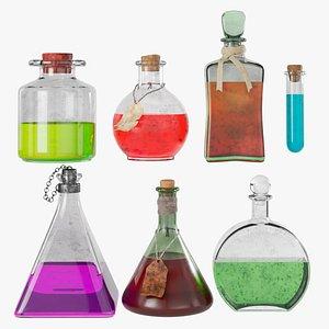 potions bottles magic 3D model