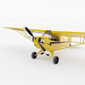 3D Light Aircraft Piper J3 3 colors model