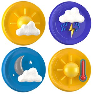 Weather Symbols Collection 3D model