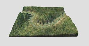 3D terrain landscape valley
