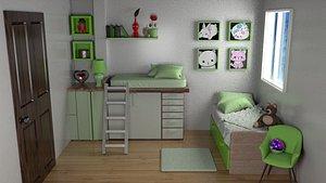 3D green kids bedroom