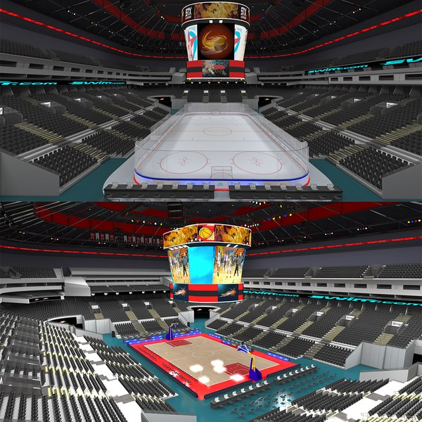 Basketball Arena and Ice Hockey Arena 3D model