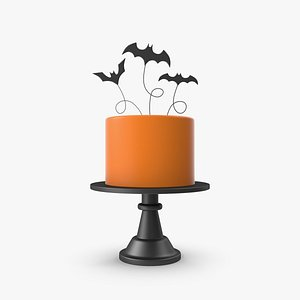 3D model Halloween Orange Cake with 3 Bat Topper
