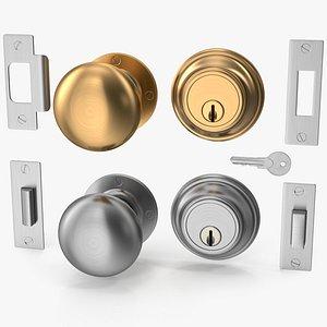 3D knob set steel door
