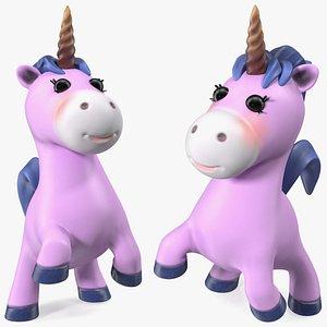 3D Pink Cartoon Unicorn Jumping Pose
