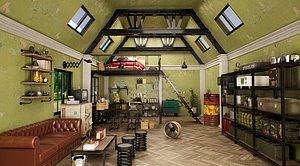 3D Loft Kitchen Interior