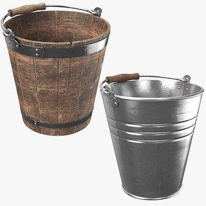 metal bucket wooden 3D model