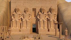 3D Abu Simbel Temples in Egypt