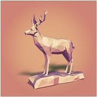 Low Poly Deer Statue
