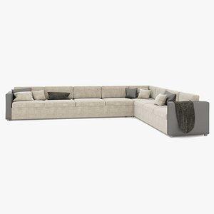3D Large L shaped Sofa