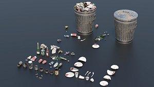 3D Trash Set 2 PBR Game Ready model