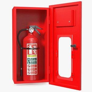 3D Fire Extinguisher Cabinet Set