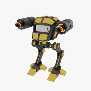 3D model Rigged 3D Low Poly Mech