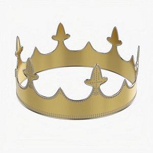 3D Royal coronation gold crown 03