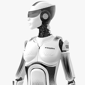 female cyborg robot police officer 3D model