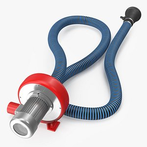 3D Exhaust Fume Extraction System Single Duct Rigged model