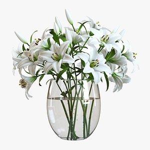 3D model Flower Set 01  White Lilies
