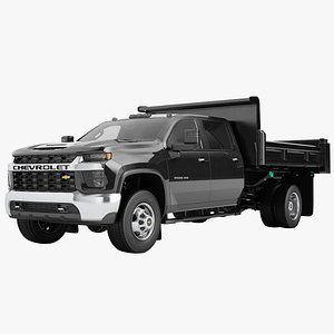 3D Chevrolet Silverado 3500 HD 2021 Flatbed Dump Truck 03