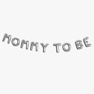 3D Foil Baloon Words Mommy to be Silver